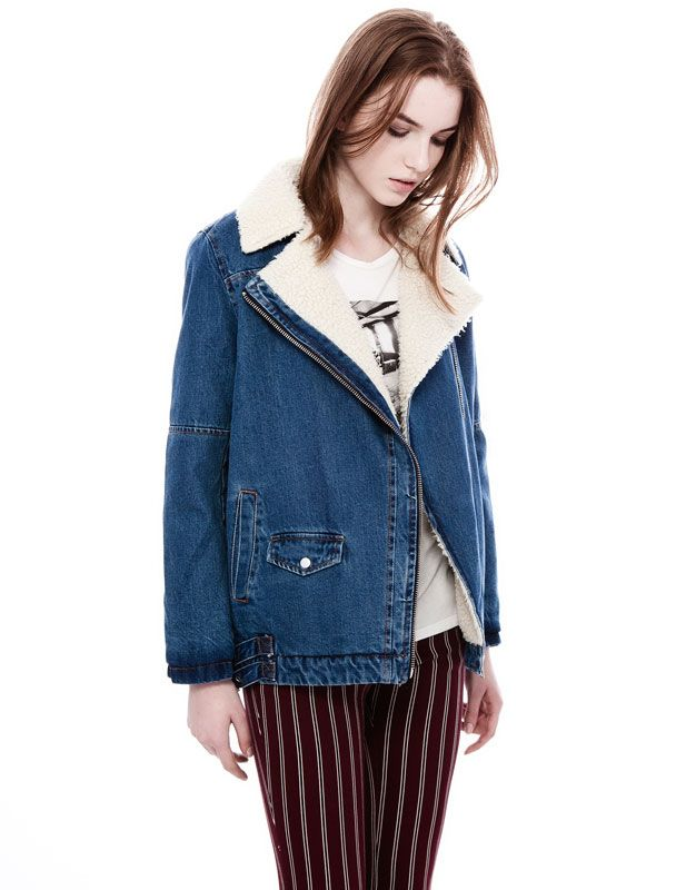 :DOUBLE BREASTED DENIM JACKET WITH SHEEPSKIN INTERIOR