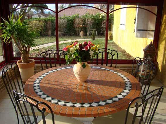 table mosaique fer forgé