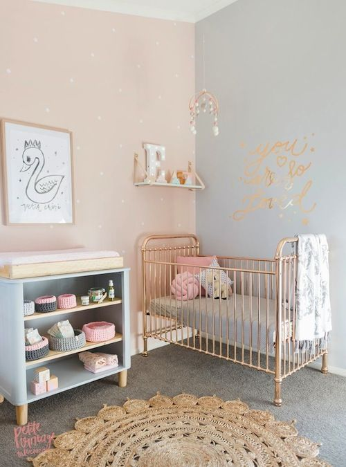 Rose Quartz, grey and gold nursery. Love the gold crib!