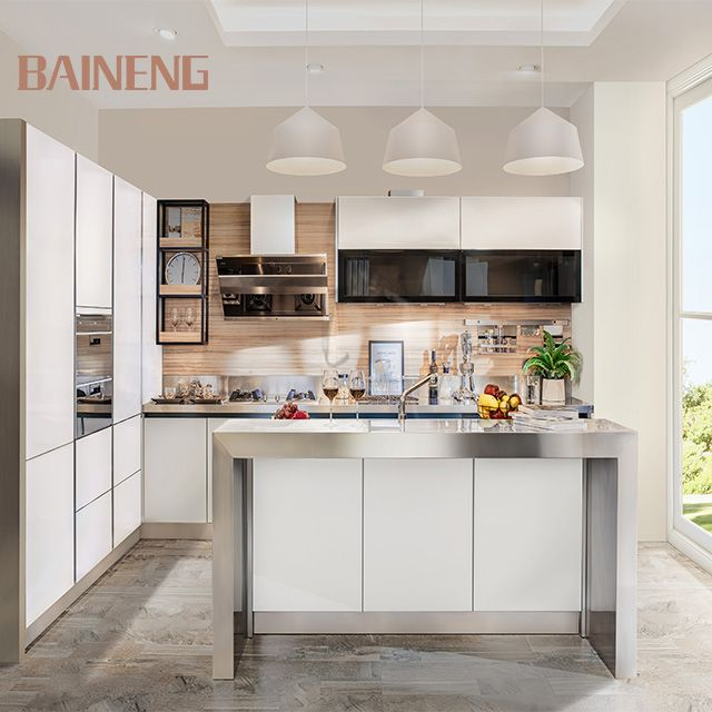 High Gloss Solid White Glass Stainless Steel Kitchen Cabinet Buy