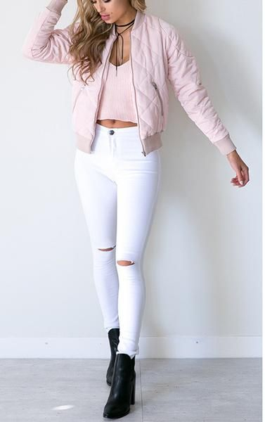 white skinny jeans, ripped denim white jeans, high waist jeans - Crystalline