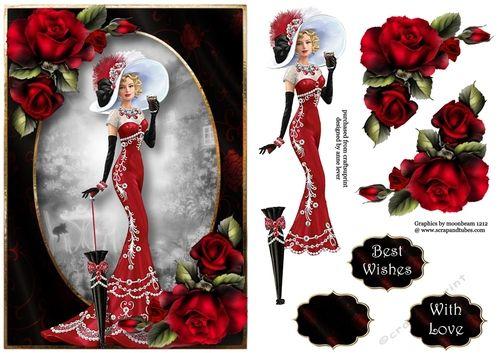 Effortless Elegance - Red Roses A5 - CraftsuPrint
