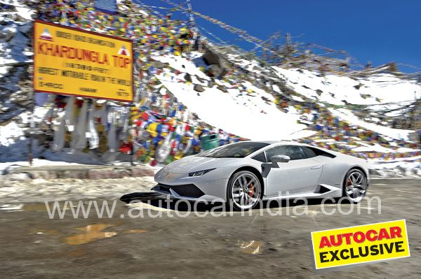 A Lamborghini Huracan takes on the world's highest motorable road. Nikhil Bhatia gives you a cliff-side view.