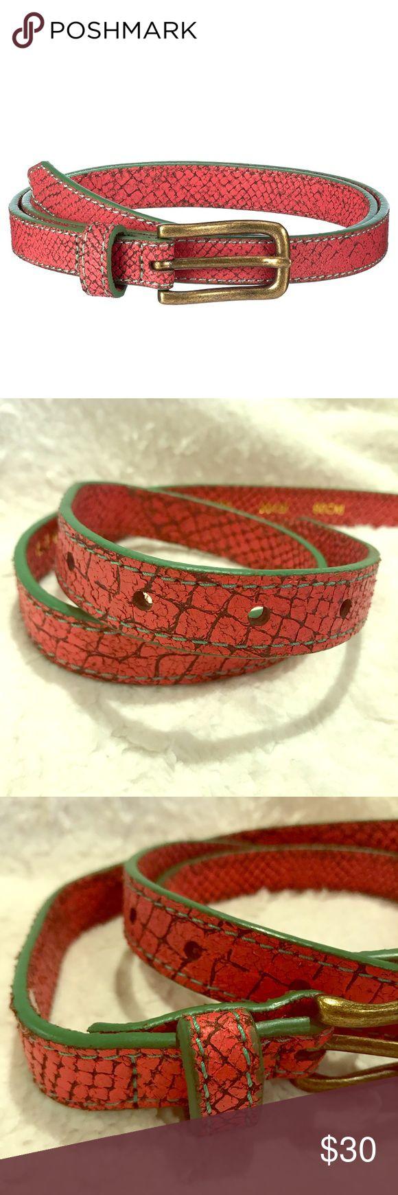 "100% Leather Pink & Green Women's Coral Snake Belt 100% Leather Pink & Green Women's Coral Snake Belt 2 cm (3/4"") wide 90 cm (35 1/2"") Long Liebeskind Accessories Belts"