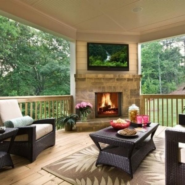 Back porch. Covered,but not enclosed.  Fireplace - like the look, not the color scheme/stone
