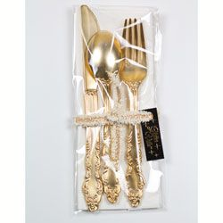 Fancy Gold Plastic Silverware, One Place Setting