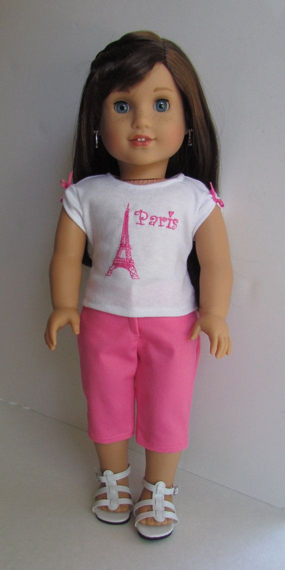 Hey, I found this really awesome Etsy listing at https://www.etsy.com/listing/235634742/american-girl-doll-pink-capris-pink