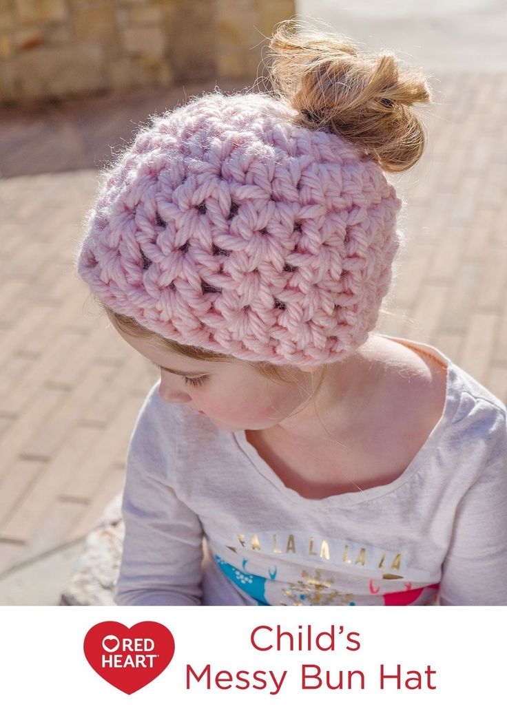 27 best Messy Bun Hats Made with Red Heart images on Pinterest