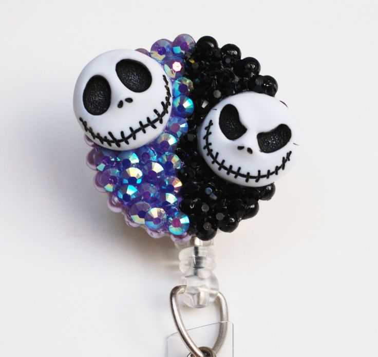 Disney Nightmare Before Christmas Jack Skellington Two Faces ID Badge Reel - Retractable ID Badge Holder - Zipperedheart by ZipperedHeart on Etsy