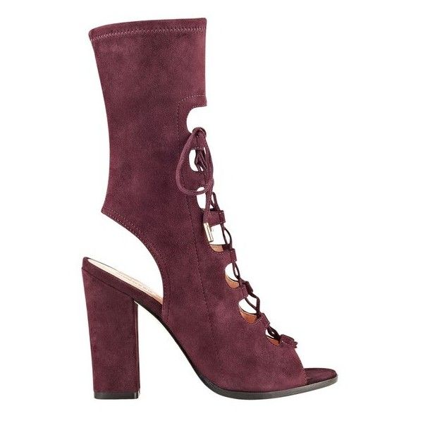 Sigerson Morrison Linda 3/4 Peeptoe Bootie ($495) ❤ liked on Polyvore featuring shoes, boots, ankle booties, ankle-boots, wine suede, cutout ankle boots, cut out booties, suede ankle boots, cutout booties and lace up booties
