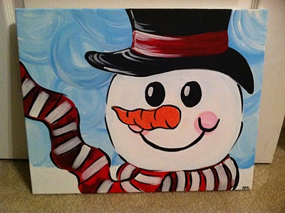 #frosty the snowman!! All my kiddies at work love this painting :) we had a full class at Splash Into Art