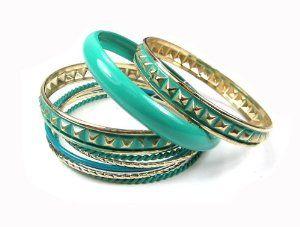 FASHION SPRING GOLD TURQUOISE BLUE COLOR BANGLE BRACELET SET Troy Designs. $11.30