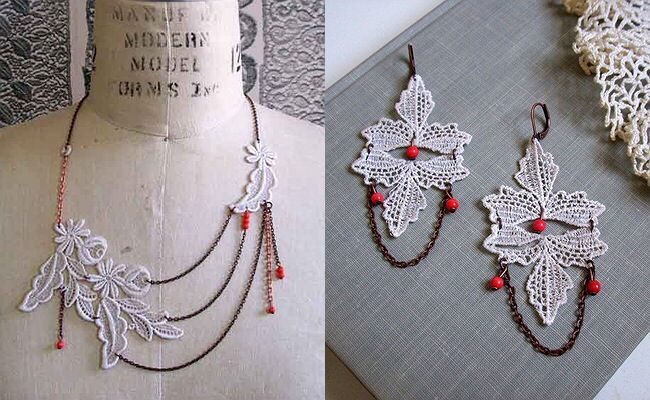 White with red bead set