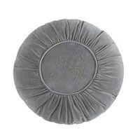 ALEXANDRINE velvet round cushion in grey D 45cm