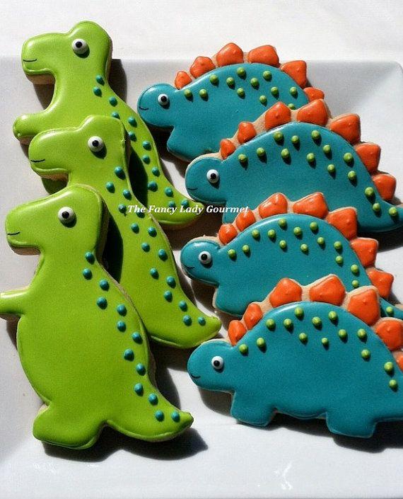 Custom Dinosaur cookies 1 dozen by TheFancyLadyGourmet on Etsy