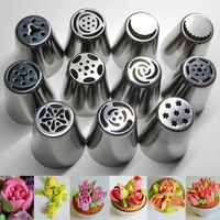 11 PCSステンレス鋼ロシアのチューリップのアイシング配管ノズル菓子カップケーキケーキの装飾のヒントデコレータローズキッチンアクセサリー