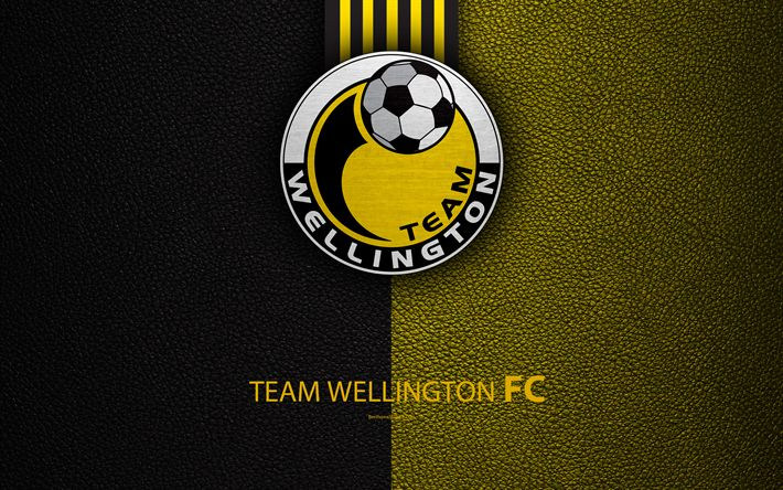 Download wallpapers Team Wellington FC, 4K, New Zealand Football Club, logo, emblem, ISPS Handa Premiership, leather texture, Wellington, New Zealand, NZFC, OFC, Oceania