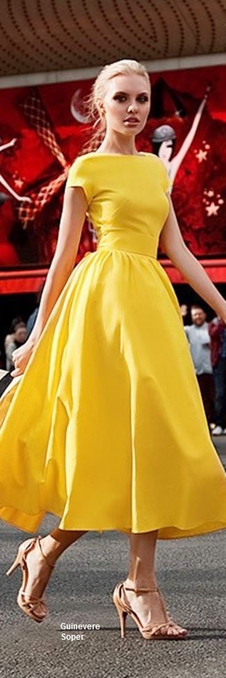 Bright yellow cap sleeve full skirt midi dress // Capsule Collection Yulia Prokhorova Beloe Zoloto Autumn-Winter 2015-2016