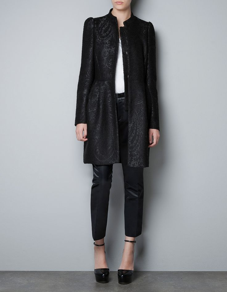 JACQUARD COAT WITH SEAM AT THE WAIST - Coats - Woman - ZARA United States