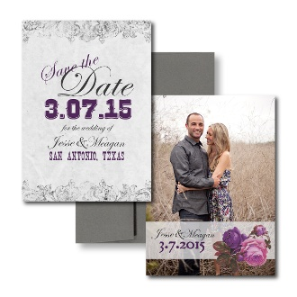 Western Style Save the Date, Purple Save the Dates, White Save the Dates, Elegant Save the Dates