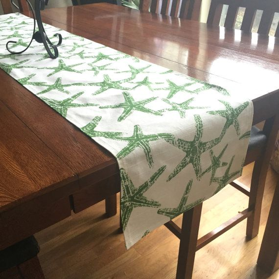 Green Starfish Table Runner  One Beach Table Decor by PillowStyles