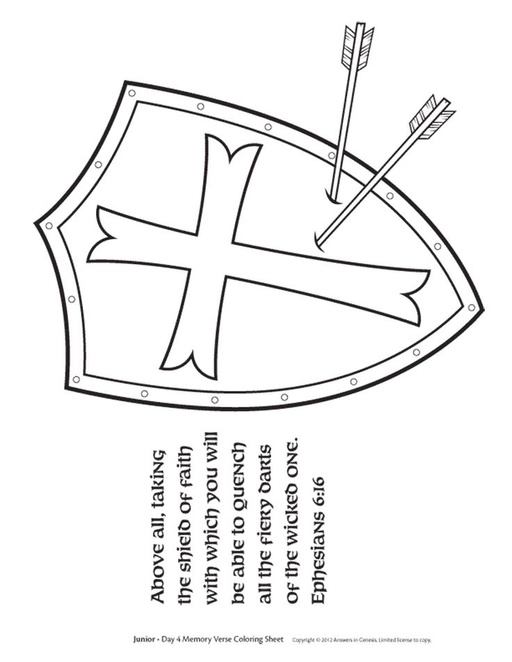 FREE Shield Coloring Page Verses CC C2 Armor Of GodKids