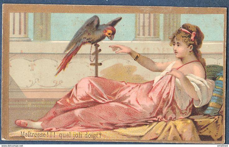 Chromo à La Maison Verte Legrais Frères Mercerie Paris Litho Gibert Clarey ? Style Art Nouveau Perroquet Doigt Femme - Trade Cards