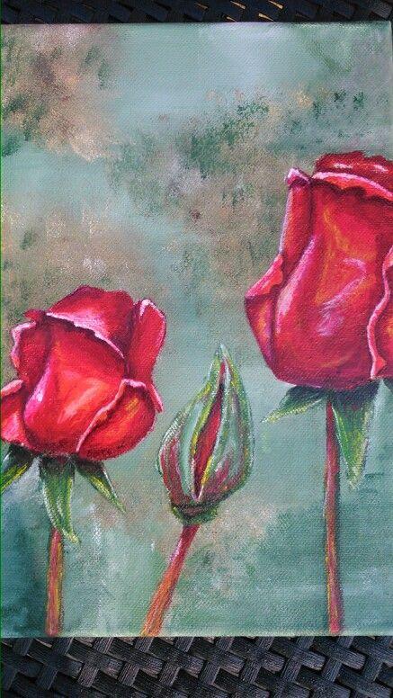 Roser, akrylmaling