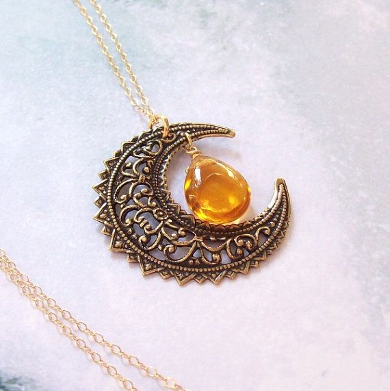 Gold Harvest Moon Necklace, Crescent Moon Necklace, Wiccan Necklace, 14K gold filled, yellow topaz, pagan, filigree, fall fashion, wicca