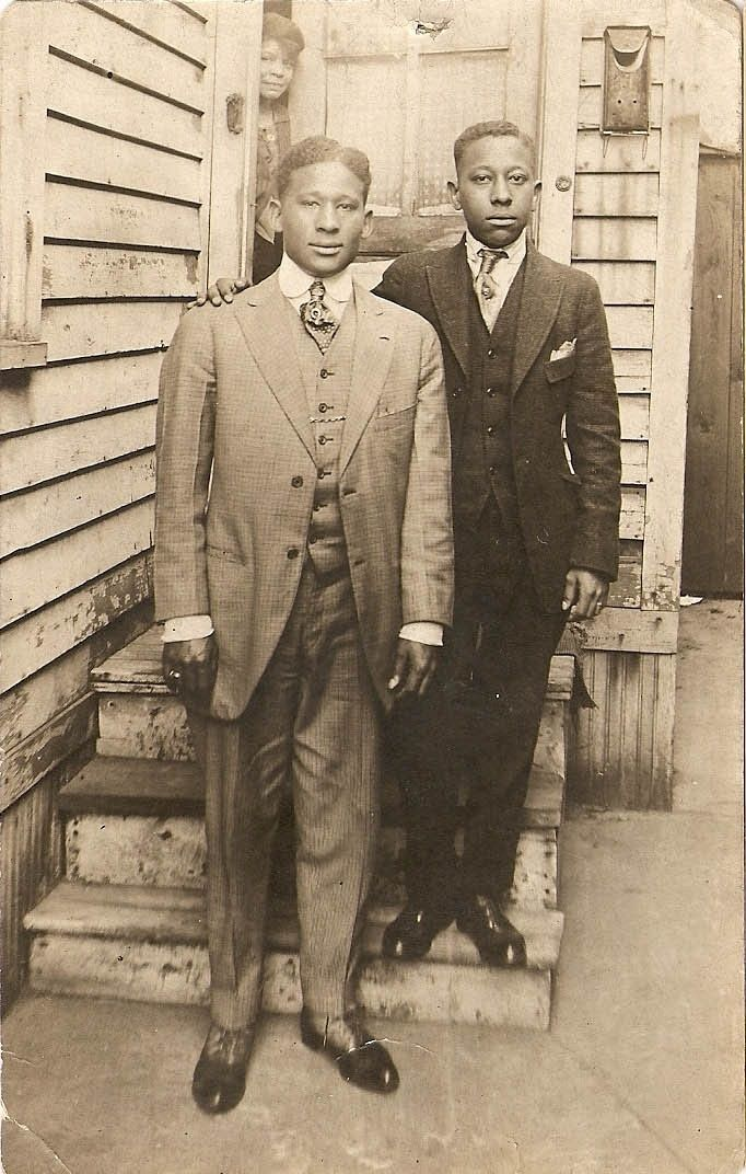 """That mom peeking out at her boys...Love that! Men of """"The Great Migration"""" - African American men ca. 1910s-1940s"""