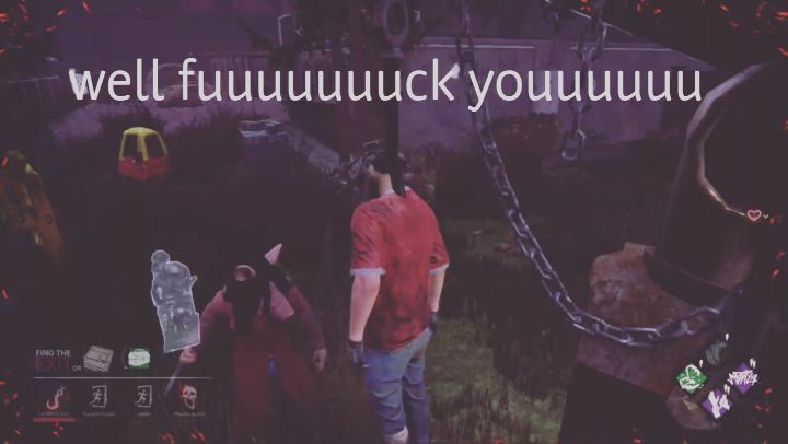 """I should've started the recording a few seconds later but I was chilling there for probably 3 minutes which is an eternity on the hook. This was also my second bear trap and this person was a face camper all the while my """"teammates"""" high tailed it the first chance they got. But I still won lol!!! #dbd #deadbydaylight #dwightfairfield #thepig #saw #Xbox #xboxone #playstation4 #psn #ps4 #pcgaming #horror #horrorgame #deathisnotescape #survivalhorror #gamer #gamingbro #gaming #survivalgame…"""