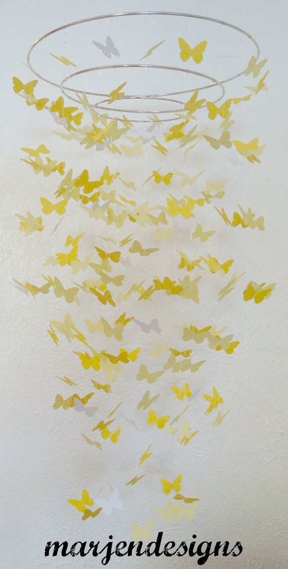 Beautiful dark and light yellow butterfly mobile with a touch of white for crib nursery dorm room teen room