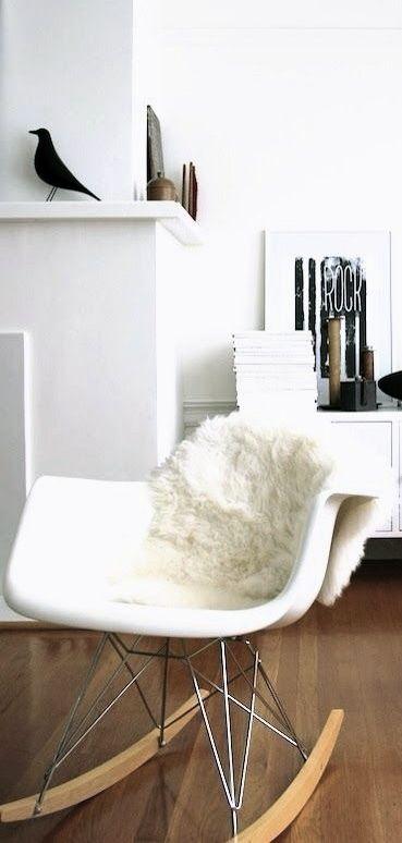 Via French by Design | Eames Rocker and House Bird | l'oiseau, le fauteuil RAR, la peau de mouton...