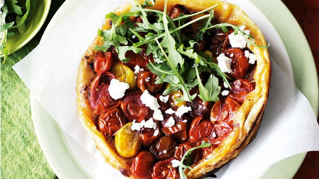 Grape tomato and tapenade tarte tatin