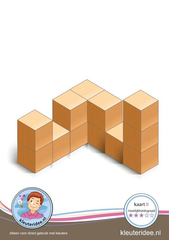 Bouwkaart 8 moeilijkheidsgraad 3 voor kleuters, kleuteridee, Preschool card building blocks with toddlers 8, difficulty 3.