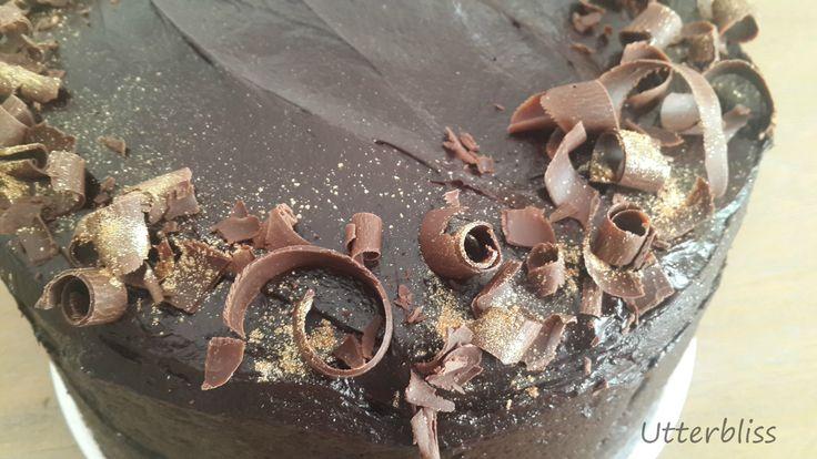 Chocolate cake with chocolate curls.