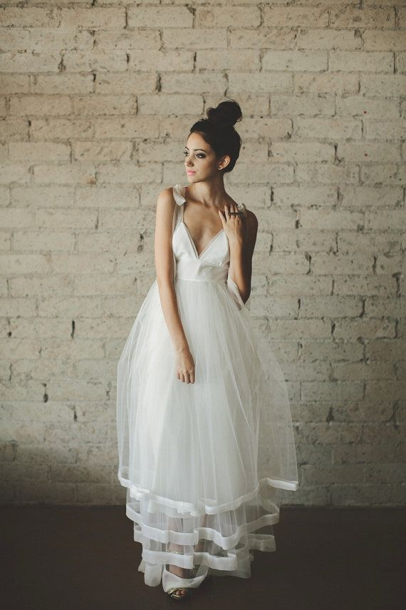 Deep V Neck Floor Length A Line Tiered Tulle Wedding Dress by ouma, $1680.00