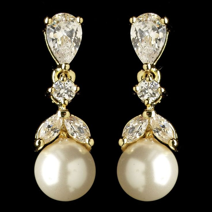 'Marianne' gold crystal pearl vintage style wedding earrings, £30.00
