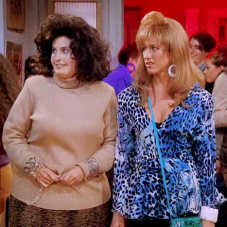 We can't talk about best friend costumes without mentioning Rachel and Monica from friends. To keep the idea fresh, go as them from high school. Monicas wear a frumpy sweater and long skirt while Rachels slip into a bright blue shirt with black pants.Why it wins: Friends ruled the '90s and the episode of Monica wearing a fat suit and Rachel before her nose job is iconic.