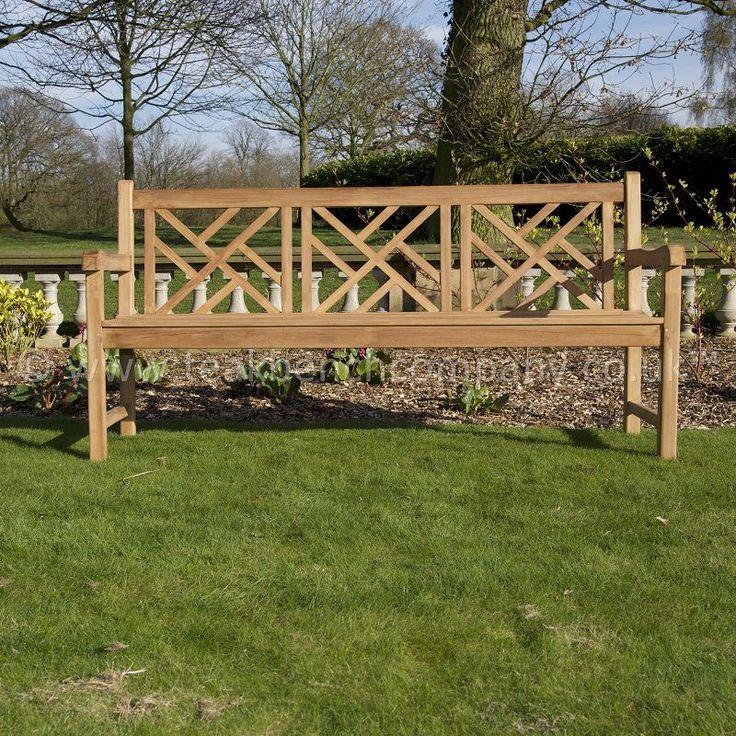 Teak Garden Bench Lattice Cross Back 180cm
