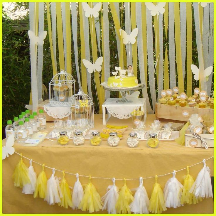Yellow butterfly first communion party! See more party planning ideas at CatchMyParty.com!