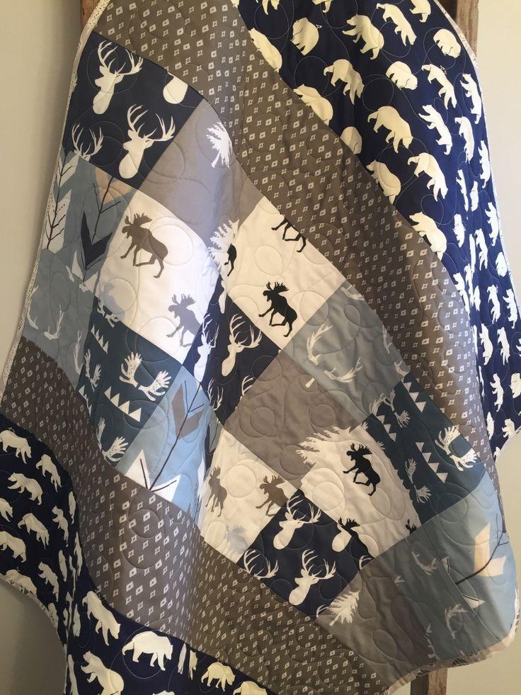 Woodland baby quilt, boy nursery, moose and antlers, arrows, deer stag elk, navy, gray grey greige, deer crib bedding, toddler by on Etsy