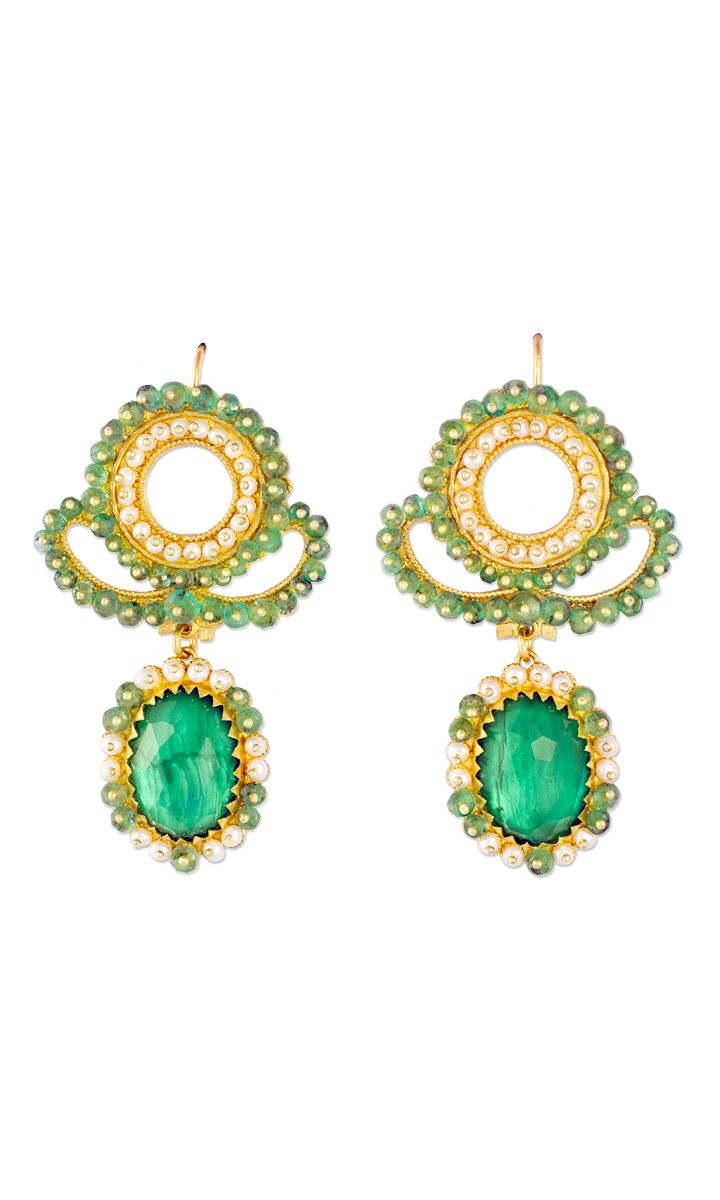 Fine Gold Filigree earrings with Jade, Emeralds and Micro-pearls  Handcrcrafted by Loredana Mandas