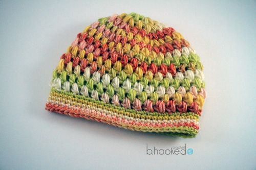 Free Puff Stitch Hat Pattern (example made with Vickie Howell Sheepish yarn in Citrus, so pretty!!)