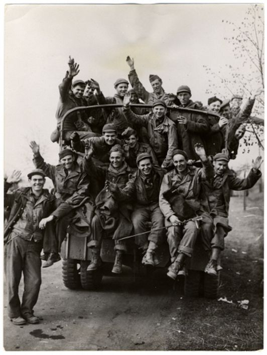American prisoners of war, recently liberated by a combat ...
