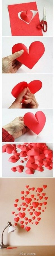 Corações de papel para parede