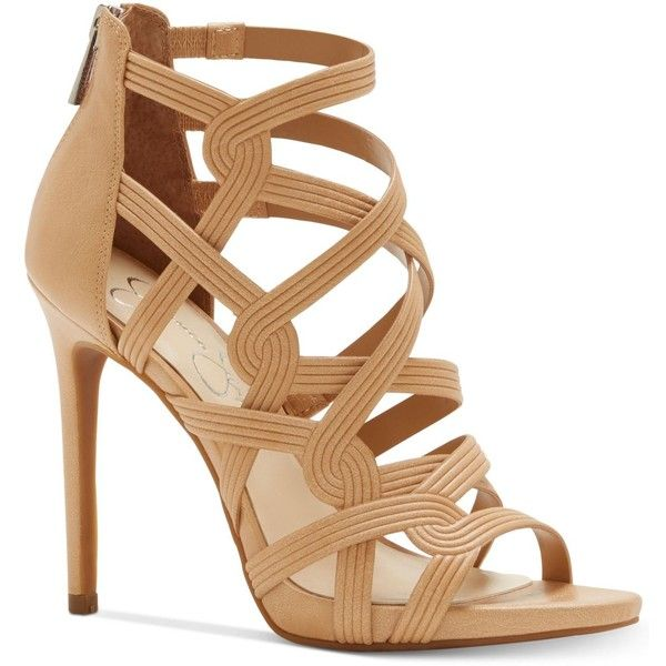 Jessica Simpson Rainah Strappy Dress Sandals (155 BRL) ❤ liked on Polyvore featuring shoes, sandals, buff, zipper shoes, monk-strap shoes, strappy dress sandals, sexy sandals and sexy strappy sandals