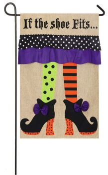 Witch Feet Garden Burlap Flag