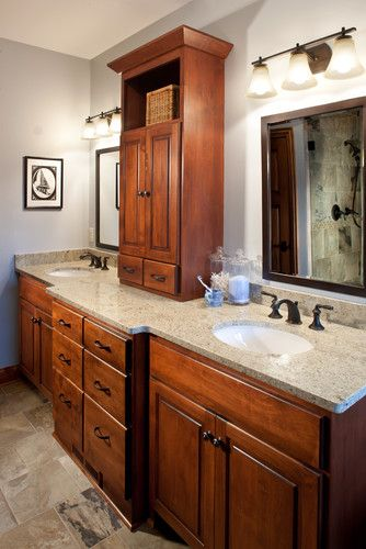 Master Bathroom vanity with a tower and counter bump out.