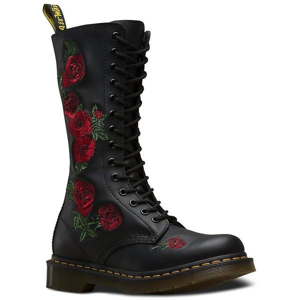 Dr. Martens Women's Vonda Leather Combat Boots (2.329.250 IDR) ❤ liked on Polyvore featuring shoes, boots, black, army boots, lace up combat boots, military boots, black army boots and leather military boots